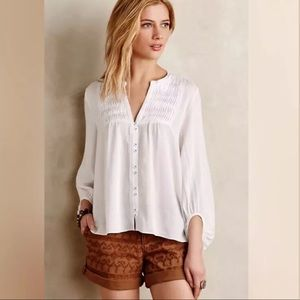 Maeve Anthropologie Size 4 Pleated Henley Blouse